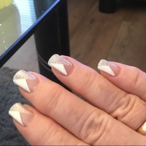 fancy fashions Makeup - Glitter angled French manicure 💅 Nail wraps